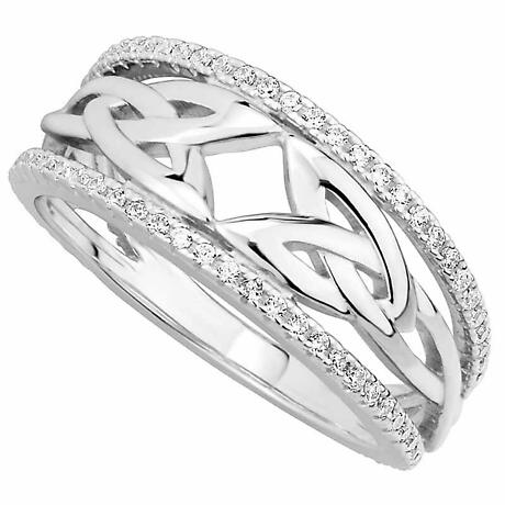 Irish Rings | Sterling Silver Ladies Crystal Trinity Knot Celtic Ring
