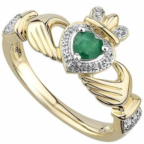 Irish Rings   14k Gold Emerald & Diamond Ladies Claddagh Ring