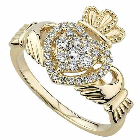 Irish Rings | 14k Yellow Gold Diamond Heart Ladies Claddagh Ring