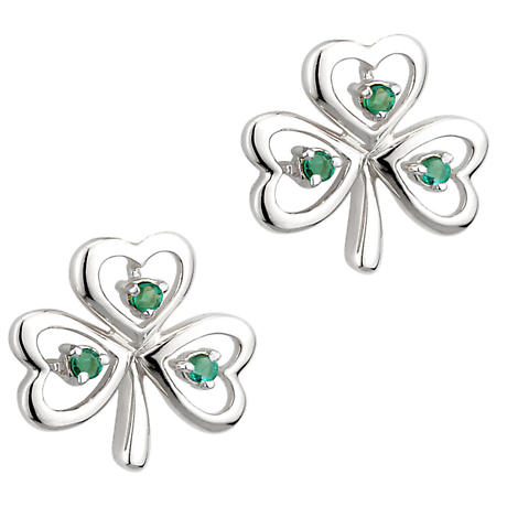 Irish Earrings | 14k White Gold Emerald Shamrock Stud Earrings