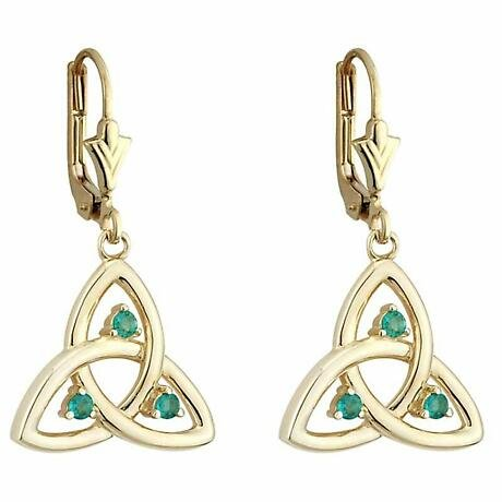 Celtic Earrings | 14k Gold Emerald Trinity Knot Drop Irish Earrings