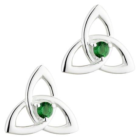 Irish Earrings | Sterling Silver Green Crystal Celtic Trinity Knot Stud Earrings