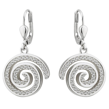 Irish Earrings - Sterling Silver Crystal Drop Celtic Spiral Earrings