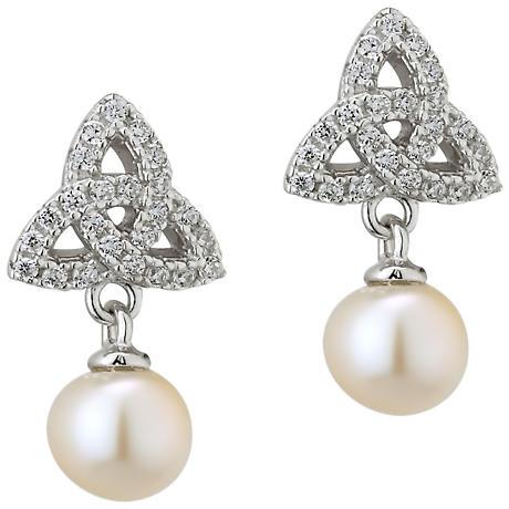 Irish Earrings - Sterling Silver Crystal and Pearl Trinity Knot Earrings