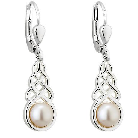 Irish Earrings - Sterling Silver Pearl Celtic Knot Drop Earrings