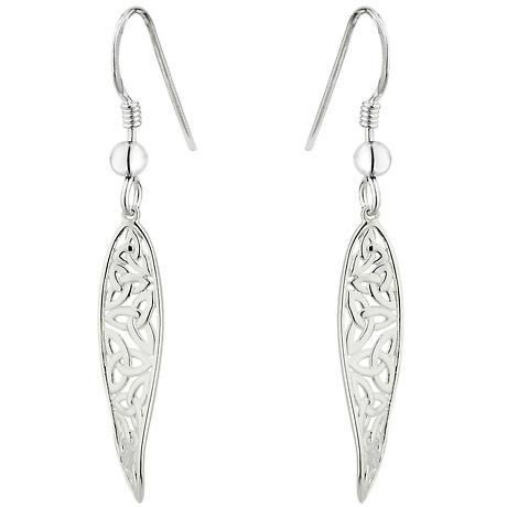 Celtic Earrings - Sterling Silver Long Irish Trinity Knot Drop Earrings