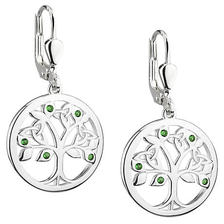 Sterling Silver Green Crystal Celtic Tree of Life Earrings