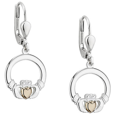 Irish Earrings | 10k Gold Heart Sterling Silver Claddagh Earrings