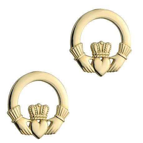 Irish Earrings | 10k Yellow Gold Stud Claddagh Earrings
