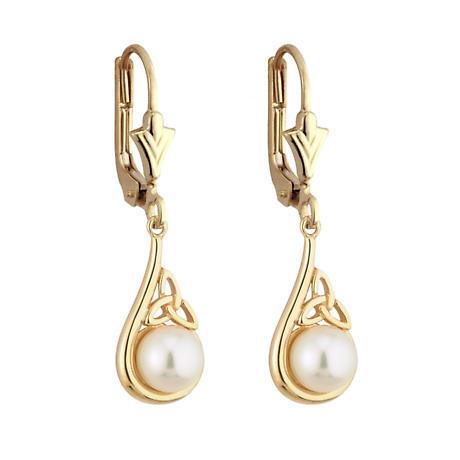 SALE - Irish Earrings - 14k Yellow Gold Trinity Knot Pearl Celtic Earrings