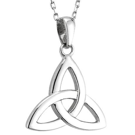 Irish Necklace | 14k White Gold Celtic Trinity Knot Pendant