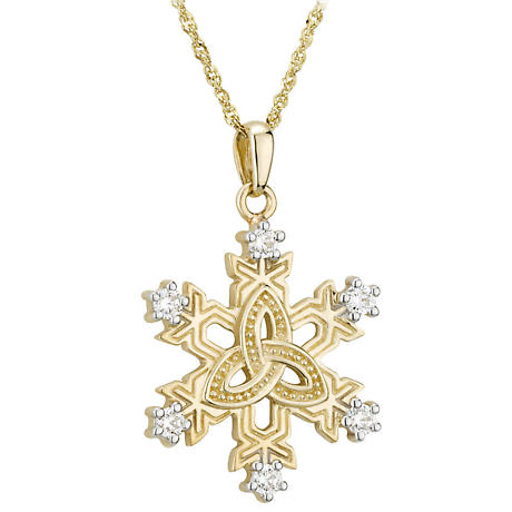 Irish Necklace 10k Gold Trinity Knot Crystal Snowflake Pendant