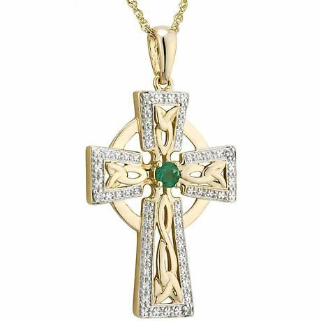 Irish Necklace | 14k Gold Diamond & Emerald Celtic Cross Pendant