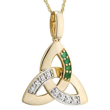 Irish Necklace | 14k Gold Diamond & Emerald Trinity Knot Pendant