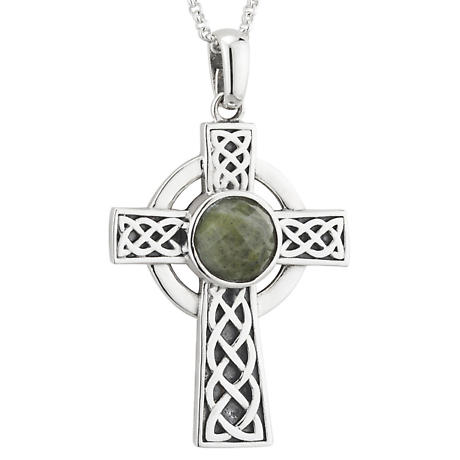 Irish Necklace | Sterling Silver Connemara Marble Celtic Knot Cross Pendant
