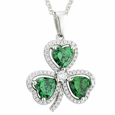 Irish Necklace | Sterling Silver Crystal Emerald Shamrock Pendant