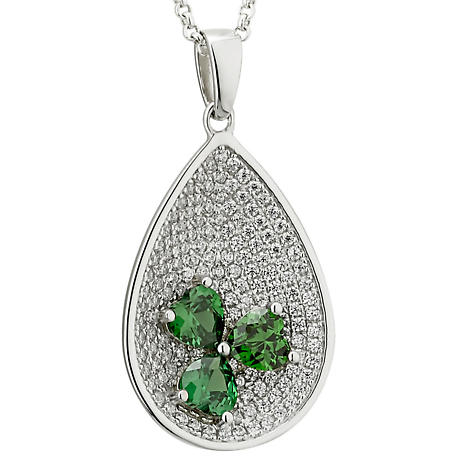 Irish Necklace - Sterling Silver Green Crystal Oval Shamrock Pendant