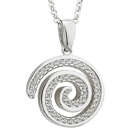 Irish Necklace - Sterling Silver Crystal Celtic Spiral Pendant