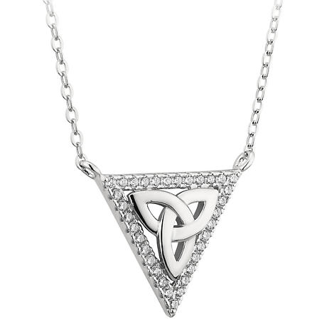 Irish Necklace | Sterling Silver Crystal Triangle Trinity Knot Necklet