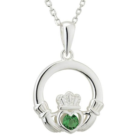 Claddagh Necklace - Sterling Silver Green Crystal Irish Pendant