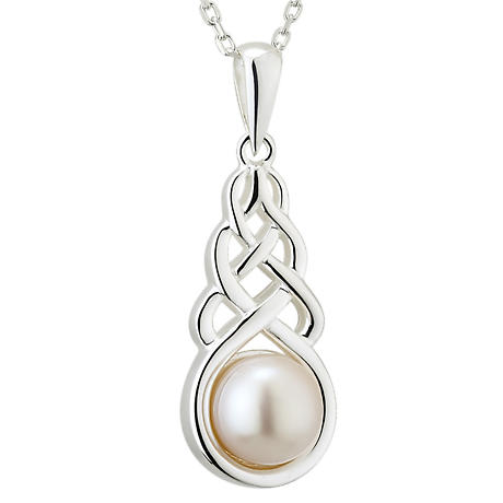 Irish Necklace - Sterling Silver Pearl Celtic Knot Pendant