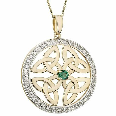 Irish Necklace | 14k Gold Emerald & Diamond Circle Trinity Knot Celtic Pendant