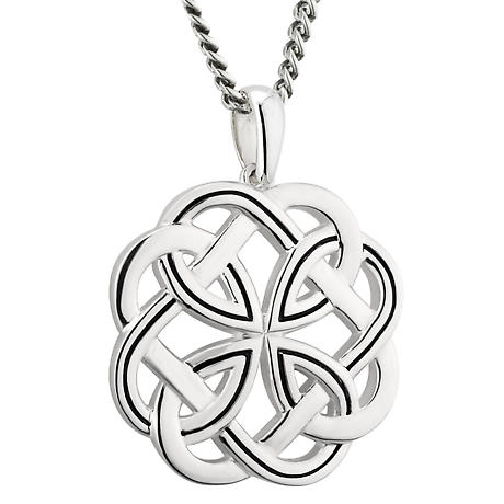 Irish Necklace | Sterling Silver Large Heavy Celtic Knot Pendant
