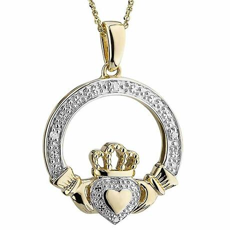 Irish Necklace | 14k Gold Heart Diamond Claddagh Pendant