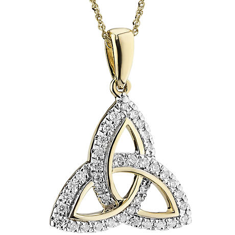 Irish Necklace | 14k Gold Diamond Encrusted Trinity Knot Pendant
