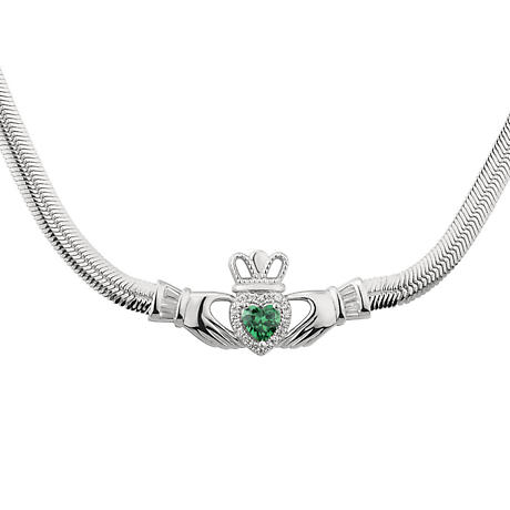 Irish Necklace | Sterling Silver Claddagh Green Crystal Necklet
