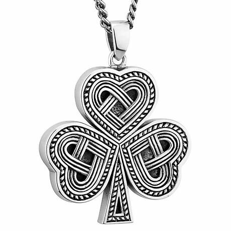 Mens Irish Jewelry | Sterling Silver Celtic Knot Shamrock Pendant