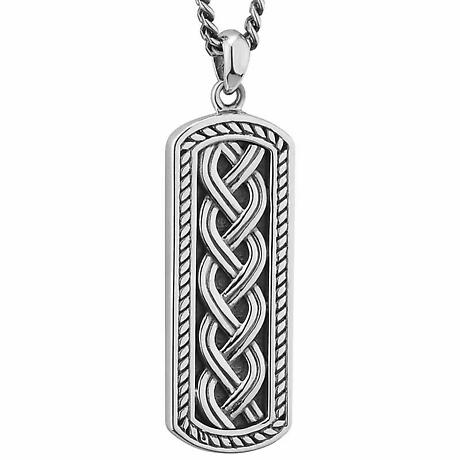 Mens Irish Jewelry | Sterling Silver Oxidized Ingot Celtic Knot Pendant