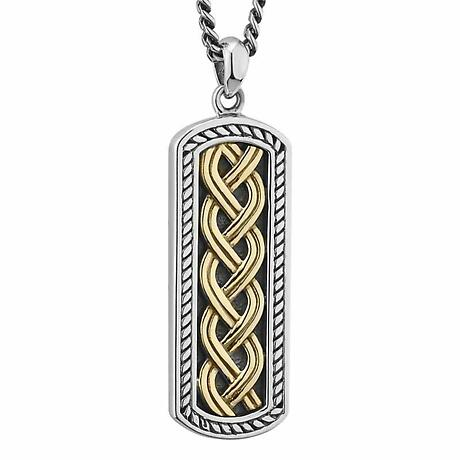 Mens Irish Jewelry | Sterling Silver & 10k Gold Ingot Celtic Knot Pendant