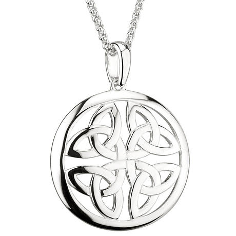 Irish Necklace | Sterling Silver Trinity Knot Circle Celtic Pendant