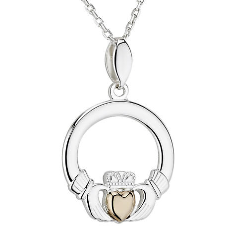 Irish Necklace | 10k Gold Heart Sterling Silver Claddagh Pendant