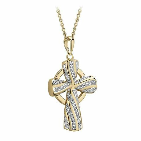 Irish Necklace | Vermeil Gold Overlay Sterling Silver Crystal Celtic Cross Pendant