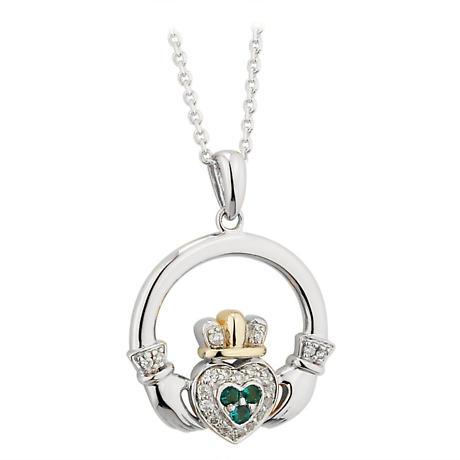 SALE - Irish Necklace - 14k White Gold Diamond and Emerald Claddagh Pendant