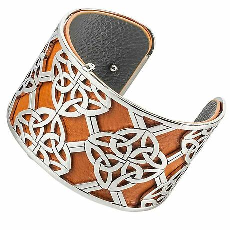 Celtic Bangle Rhodium Trinity Knot Leather Irish Cuff Bracelet