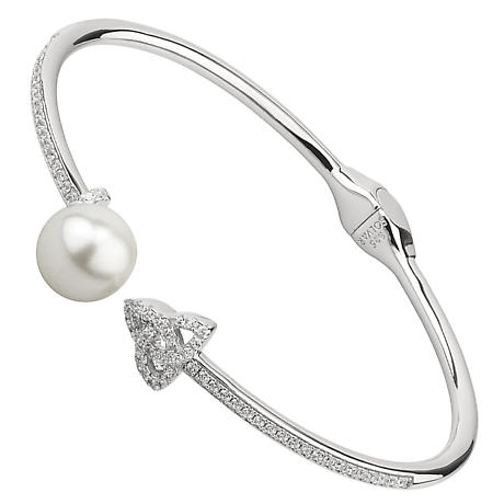 Irish Bracelet | Sterling Silver Crystal & Pearl Trinity Knot Bangle