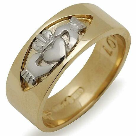Irish Wedding Ring - Mens Claddagh Insert 10k Yellow Gold Band