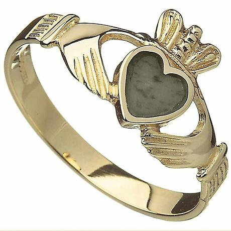 Claddagh Ring - 10k Gold Connemara Marble Ladies Irish Ring