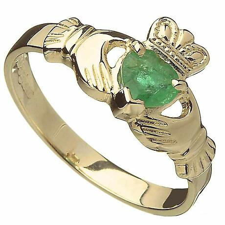 Claddagh Ring - 10k Gold Emerald Ladies Irish Ring