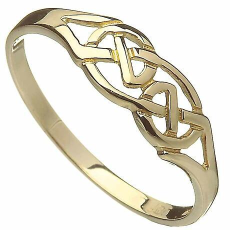 Irish Ring - 10k Yellow Gold Interweaved Celtic Knot Band
