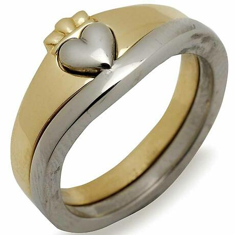 Irish Wedding Band - 10k White and Yellow Gold 2 Part Interlocking Ladies Claddagh Ring