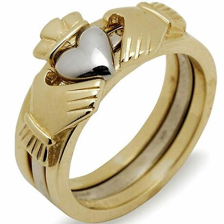 Irish Wedding Band - 10k Gold Two Tone Ladies Stacking Claddagh Ring