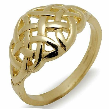 Celtic Wedding Band - 10k Yellow Gold Domed Celtic Knot Irish Ring