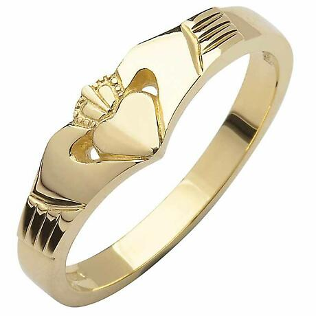 Irish Wedding Band - 10k Yellow Gold Ladies Elegant Wishbone Claddagh Ring
