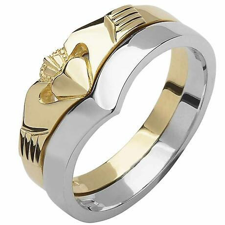 Irish Wedding Band - 10k Yellow and White Gold Ladies Elegant Two Piece Wishbone Claddagh Ring