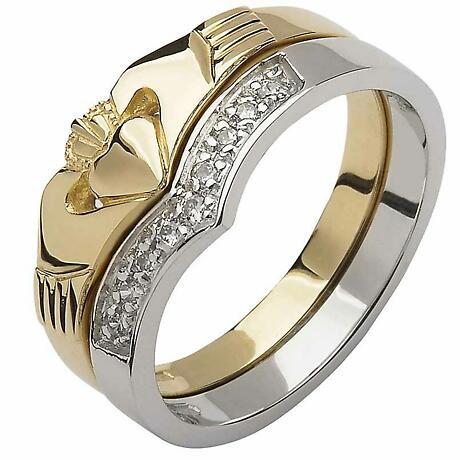 Irish Wedding Band - 10k Yellow and White Gold Diamond Wishbone Ladies Claddagh Ring