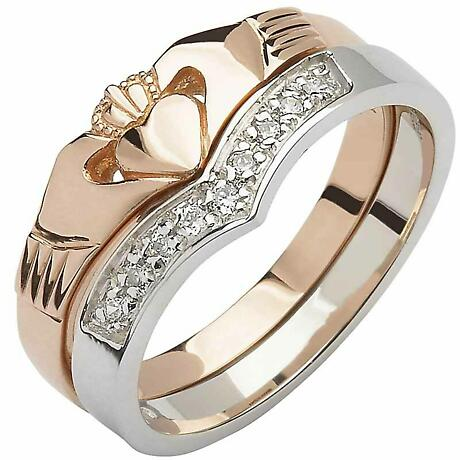 Irish Wedding Band - 10k Rose and White Gold Diamond Wishbone Ladies Claddagh Ring